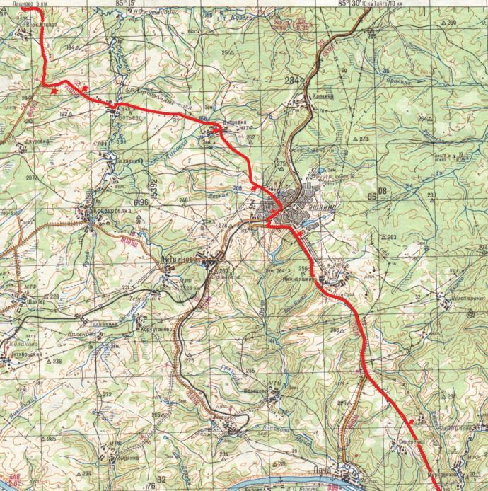Схема 5 . Маршрут по Кемерово